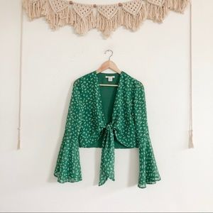 Urban Outfitters Tie Front Bell Sleeve Crop Top